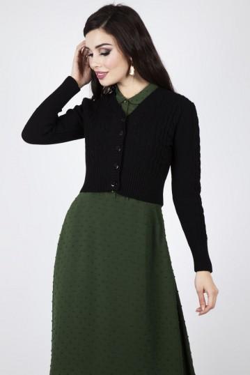 Mabel Cropped Cardigan in Black