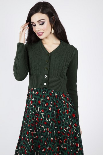 Mabel Cropped Cardigan in Green