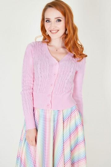Mabel Cropped Cardigan in Pink