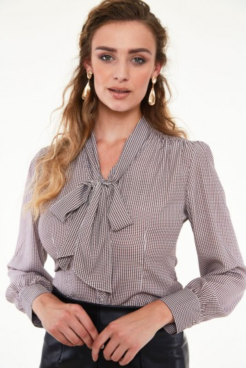 Madeline 40s Style Houndstooth Blouse
