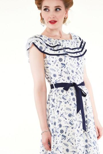 Magdalena Nautical Print Dress