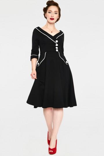 Marica 1950s Black Herringbone Wide Collar Curve Dress