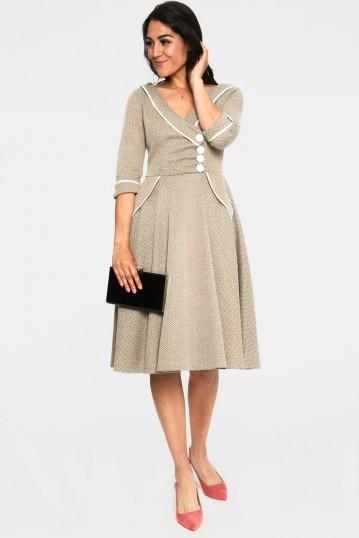 Marica 1950s Olive Herringbone Wide Collar Curve Dress