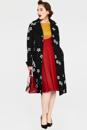 Marjorie Black Floral Coat