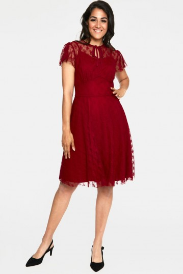 Melody Burgandy Lace Occasion Dress