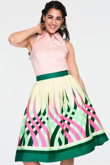 Mia Colour Wheel Border Print Flare Skirt