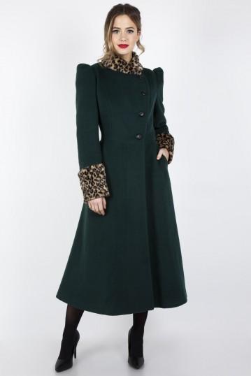 Natasha Faux Fur Leopard Trim Coat