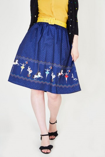 Patricia Print Skirt With A Circus-themed Border