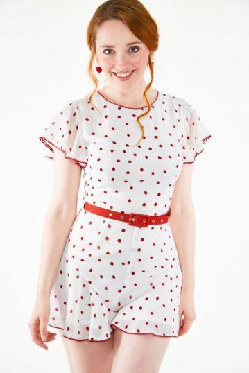 Rosita White Strawberry Fruit Flutter Playsuit