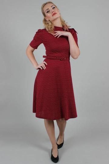 Posie Berry Polka Dot Tie-neck Dress