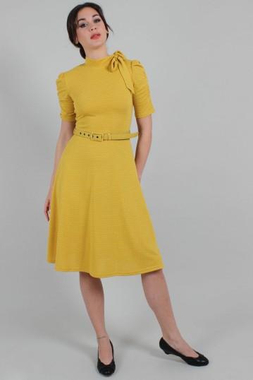 Posie Mustard Polka Dot Tie-neck Dress