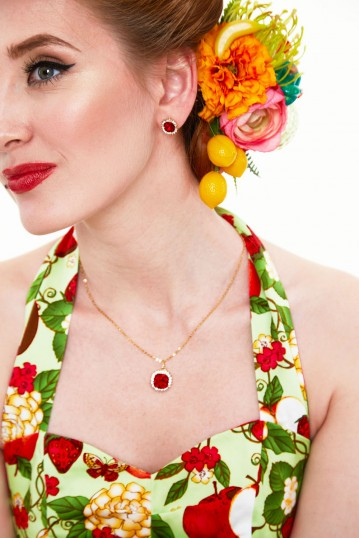 Ruby Elegant Earring and Necklace Set