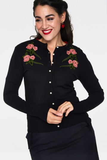 Sabrina Velvet Floral Applique With Pearl Detail Cardigan