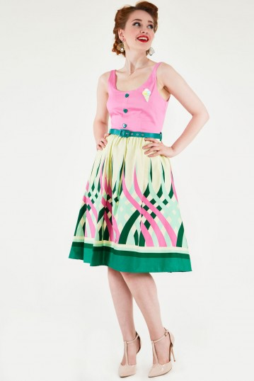 Sabrina Watermelon Border Print Flared Dress