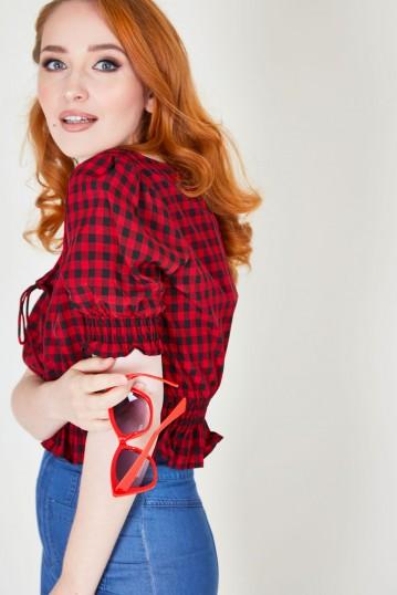 Sadie Red Gingham Top