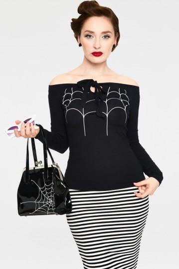 Salma Black Off the Shoulder Spider Web Top