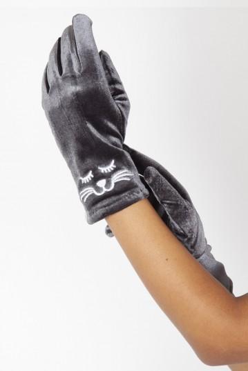 Kitty Grey Velvet Gloves