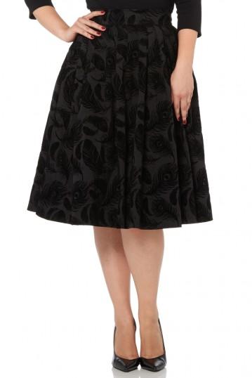 Andrea Flocked Feather Black Skirt
