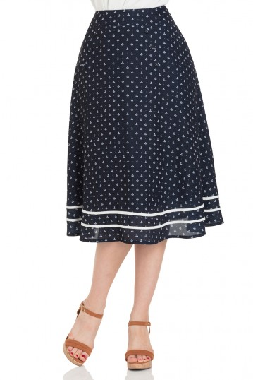 Naomi Nautical Print Swing Skirt