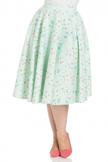 Curve Lilly Retro Scooter Print Skirt