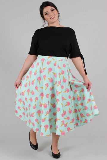 Curve Amy Floral Ice Cream Print Skirt