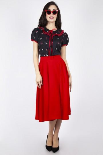Rosy Flared Midi Skirt