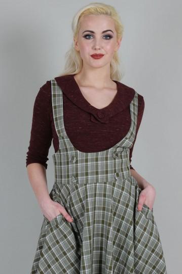 Curve Phoebe Khaki Check Print High-Waisted Overall Skirt