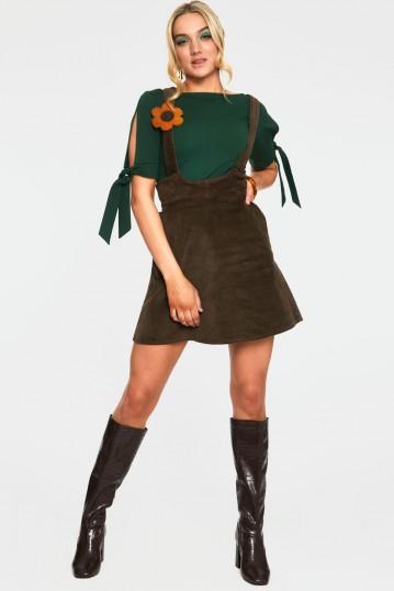 Bo Mustard Flower Corduroy Overall Skirt