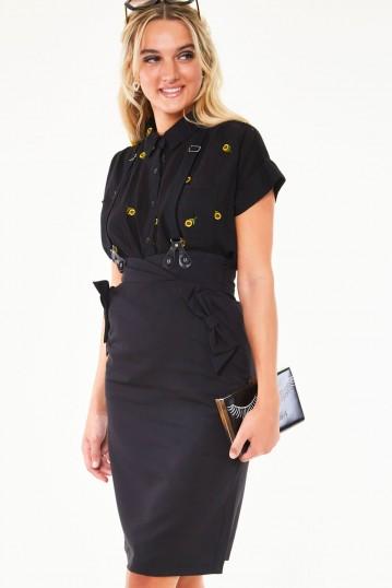 Nadia Bow pocket suspender pencil skirt