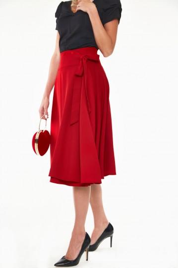 Raphaela Heart button bow flare skirt