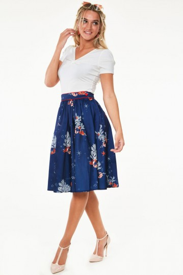 Colbie Flare skirt with side seam pocket in coral print