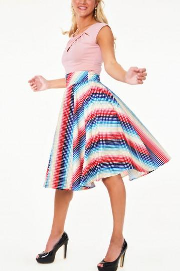 Serene Rainbow Gingham 1950s Swing Skirt