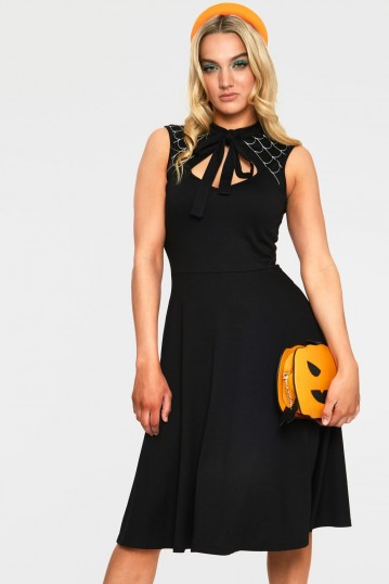 Skye Black Spider Web Tie Neck Dress