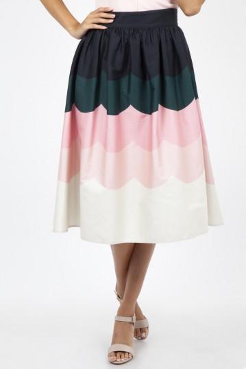 Sofia Scallop Border Print Flare Skirt