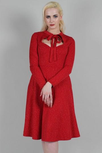Curve Starlynn Red Snowflake Knit Bow Tie Dress