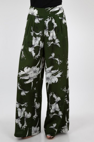 Stephanie Green Floral Palazzo Pants