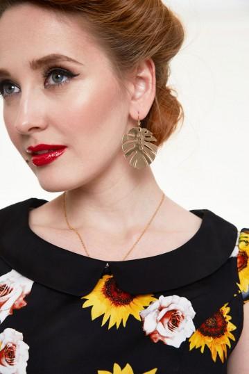 Summer Golden Palm Leaf Earrings