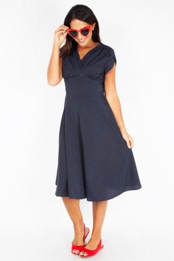Tabby Navy Polka Dot Tea Dress