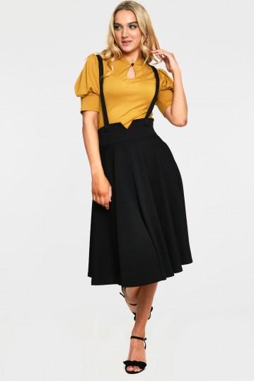 Toyin Black Herringbone Overall Cuve Skirt