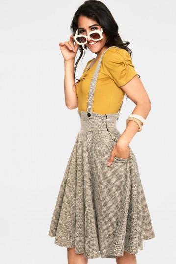 Toyin Olive Herringbone Overall Skirt