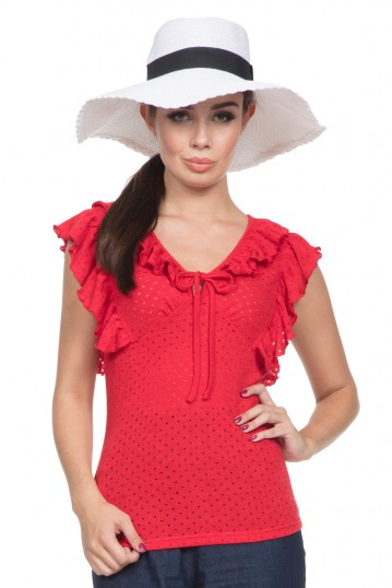 Maria Retro Red Top