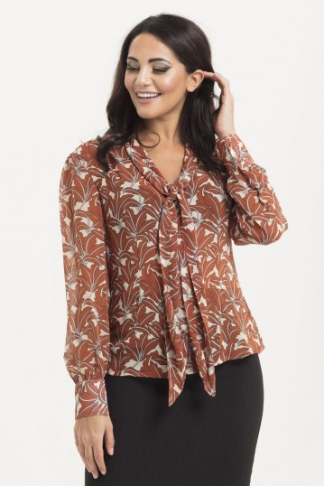 Madeline 40s Style Brown Floral Blouse