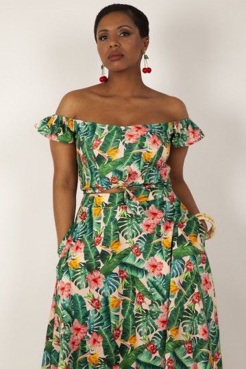 Valentina Floral Tropical Print Cropped Top