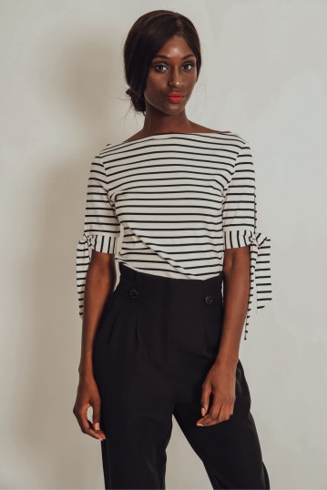 Sana Striped Blouse With Short Sleeves