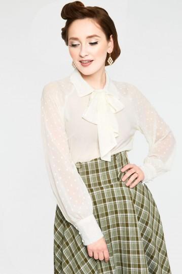 Winona White Neck Tie Chiffon Blouse