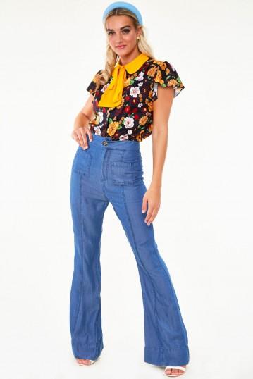 Aurelia Floral flare sleeve button down top