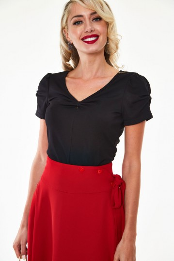 Ramona knit V-neck top with bow detail at sleeve