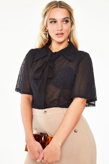 Pussy bow top with flutter sleeves