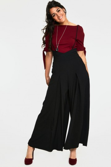 Kourt Black High-Waisted Trousers With Suspenders