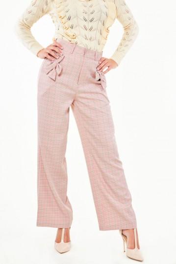 Bow pocket pink plaid trouser